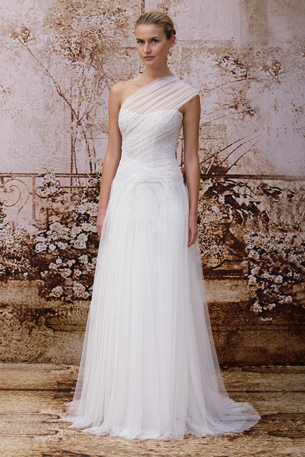 Monique Lhuillier Tulle Wedding Dress From Fall 2014 Bridal Market