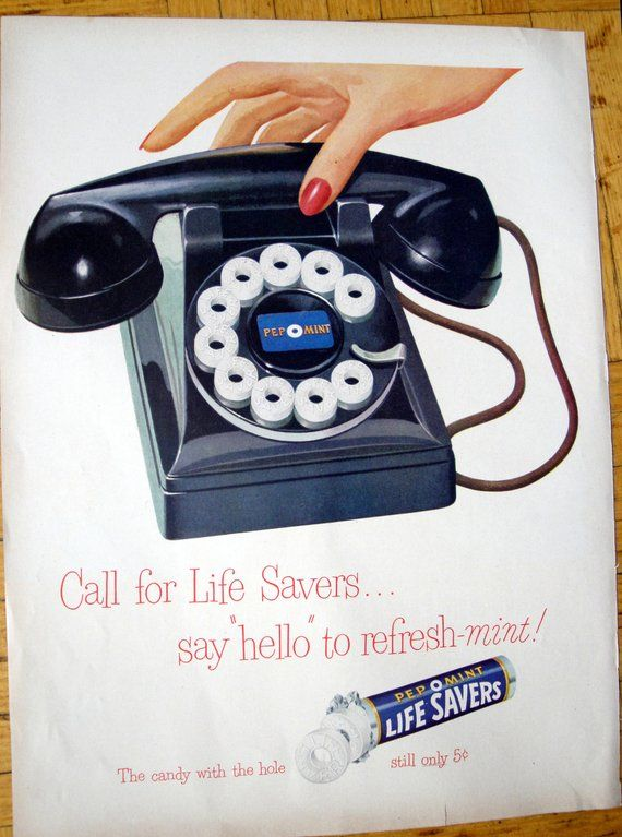 1949 Life Savers Rotary Telephone Dial Candy Original 135 Art In