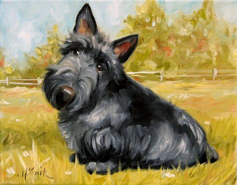 PRINT Scottish Terrier Scottie Dog Puppy Art Oil Painting / Mary Sparrow Smith. $29.95, via Etsy.