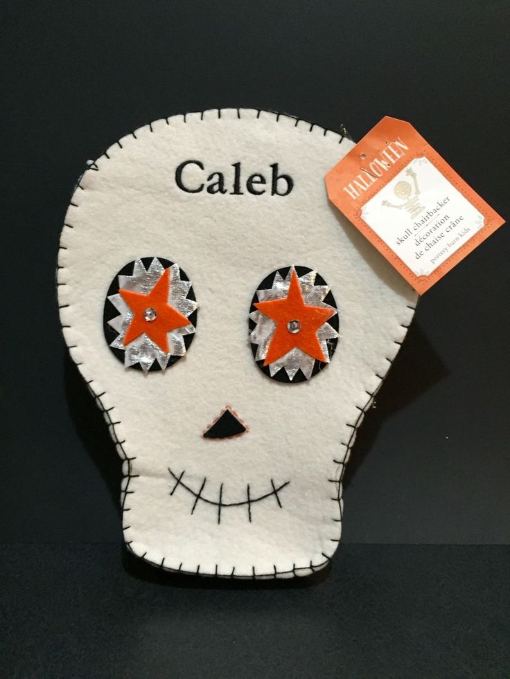 "POTTERY BARN KIDS Skull CHAIR BACKER Kids Halloween TABLE DECOR ""Caleb"" NWT 