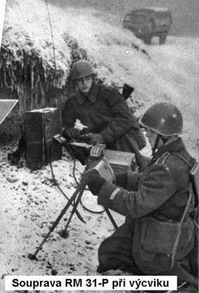 Czechoslovakian Army troops operating an RM-31 Supertona radio in the field with a handcrank generator providing power