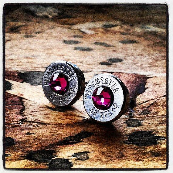 Bullet Stud Earrings Fuchsia by GunpowderAndGlitz on Etsy, $20.00. This are to cute love them