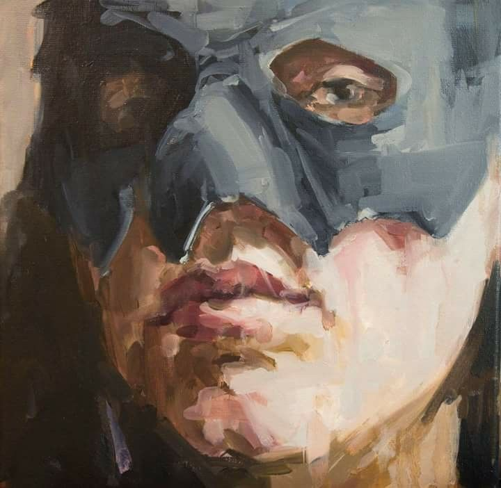 Jantien de Boer, The great pretender, 2016, oil on canvas, 40 x 40 cm.