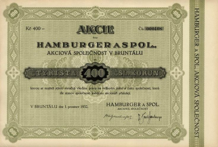 Hamburger a spol., akciová společnost v Bruntálu (Hamburger & Co., Aktiengesellschaft in Freudenthal). Akcie na 400 Kč, Bruntál, 1932.