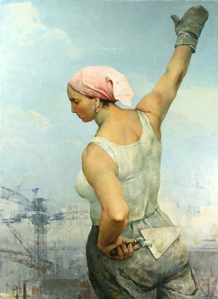 1964 WORKER, by Vladimir Serov ('Строительница', художник В.Серов.)