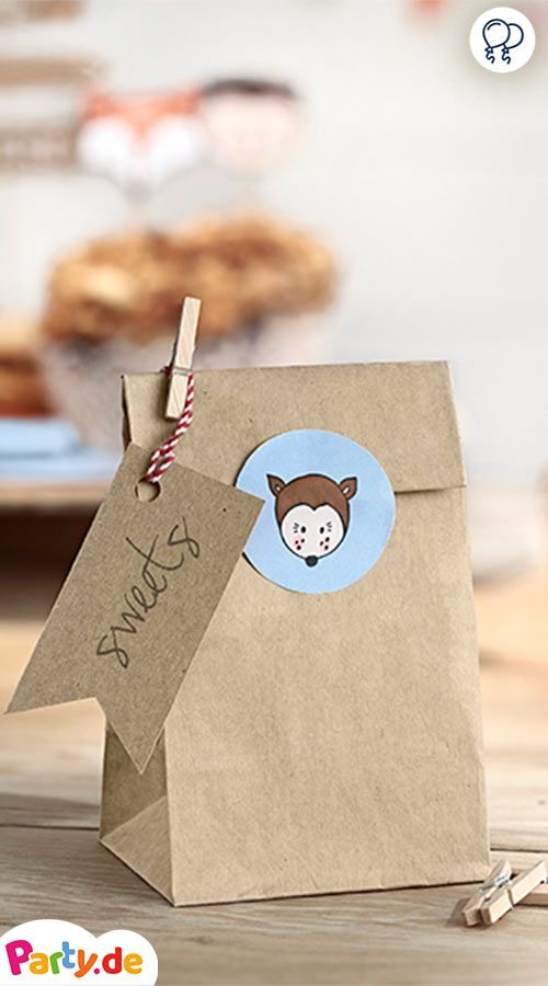6 Geschenktüten Waldland Mit Tier Sticker We Waldtiere Geburstag Pinterest Woodland Diy Bags And Birthday