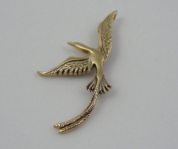 Swooping Long Tailed Bird Gold Charm or Pendant