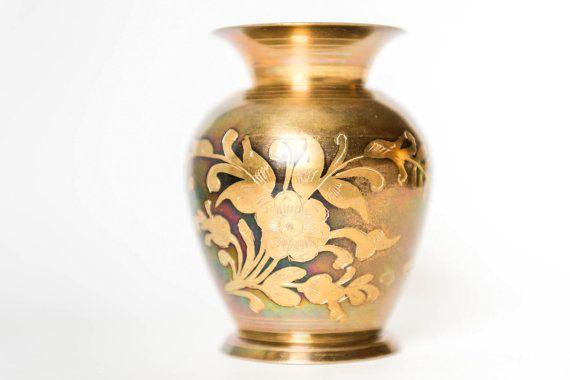 Vintage Etched Brass Vase with Gold Leaves by VintageDelightShop