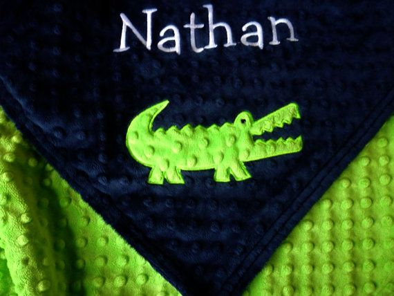 Personalized baby blanket- navy blue and lime green crocodile alligator- 30x35 stroller blanket