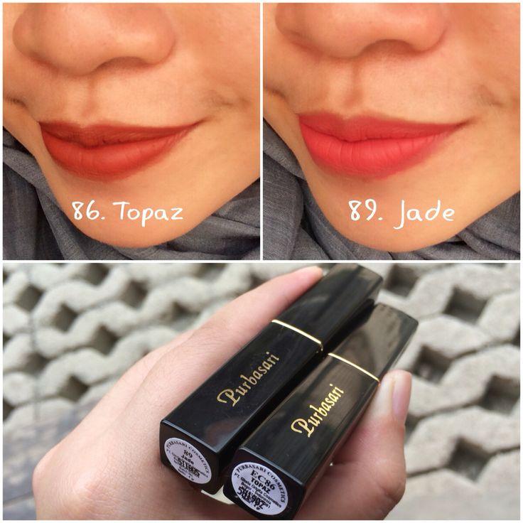 Wearing Purbasari Lipstick Color Matte 86 (Topaz) & 89 (Jade)
