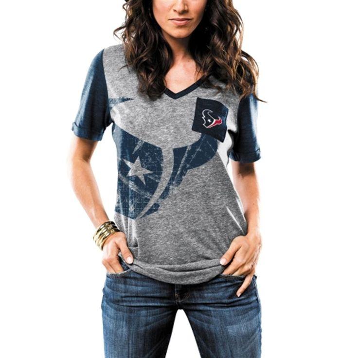Houston Texans Majestic Women's Break The Limit V-Neck Tri-Blend T-Shirt - Gray
