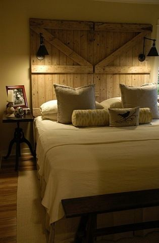 I WANT NOW barn door headboard I love the over-hanging lights on each side too, perfect if I want to read in bed.
