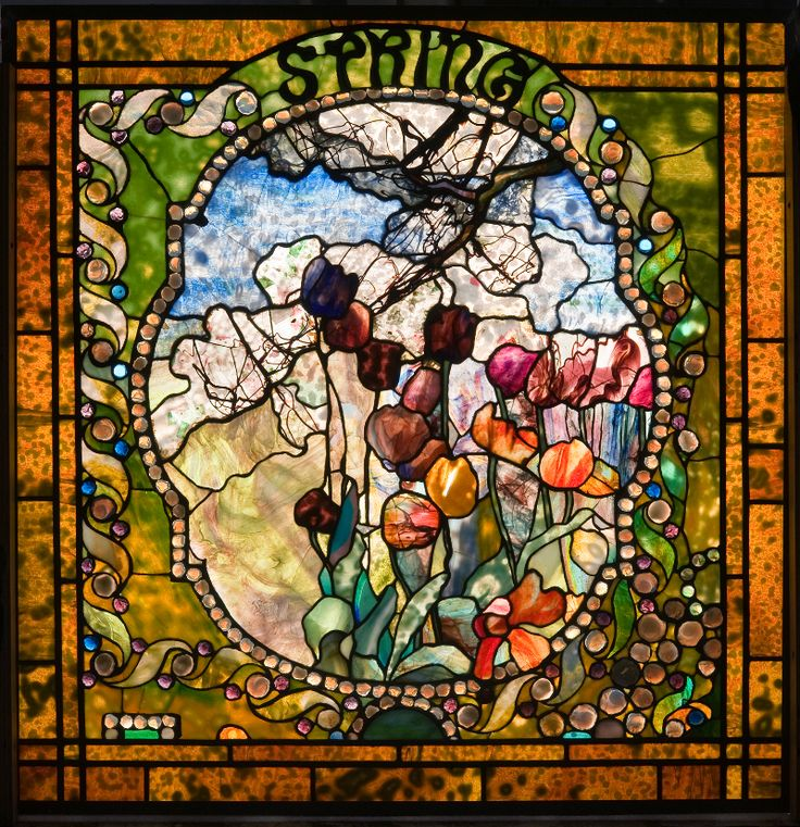 The 'Spring' panel from 'The Four Seasons' by Louis Comfort Tiffany (1900).