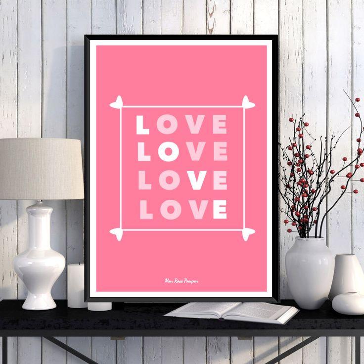 Affiche illustration amour, Affiche scandinave, Affiche à imprimer, Décoration murale, Amour, Coeurs, Citation, Idée cadeau, Numérique par MonRosePompon sur Etsy https://www.etsy.com/fr/listing/273338370/affiche-illustration-amour-affiche