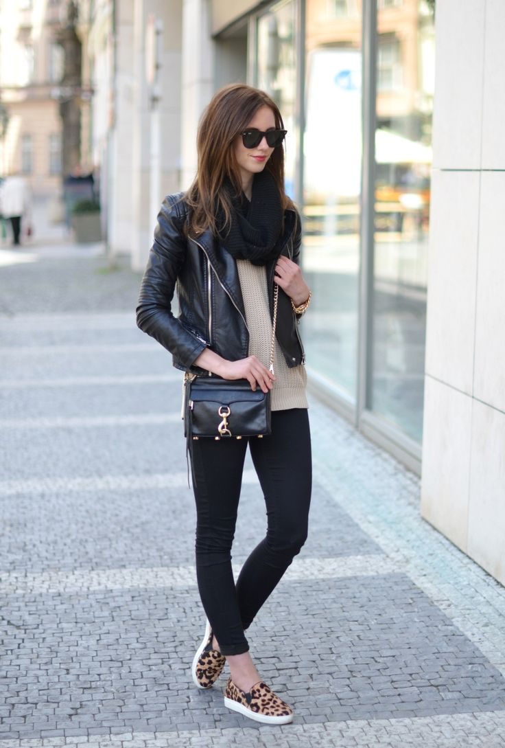 leopard slip ons + leather jacket