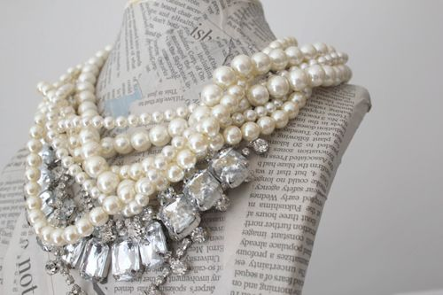 **Necklaces Holders, Pearls Necklaces, Statement Necklaces, Style, Fashion Accessories, Jewelry, Display Pap Mache, Little Black Dresses, Chunky Necklaces
