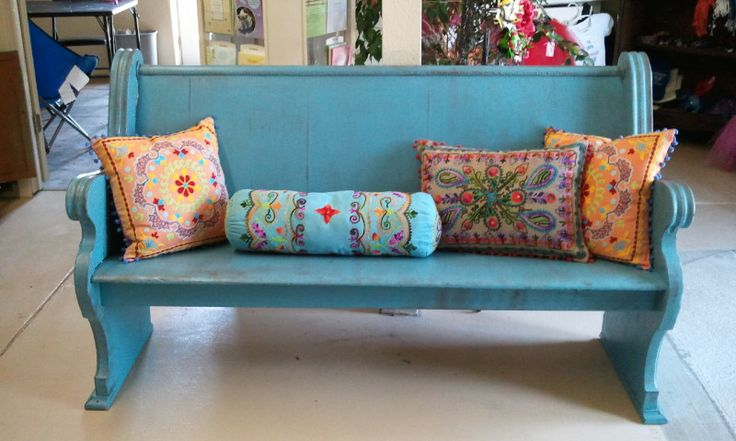 Turquoise church pew I painted.