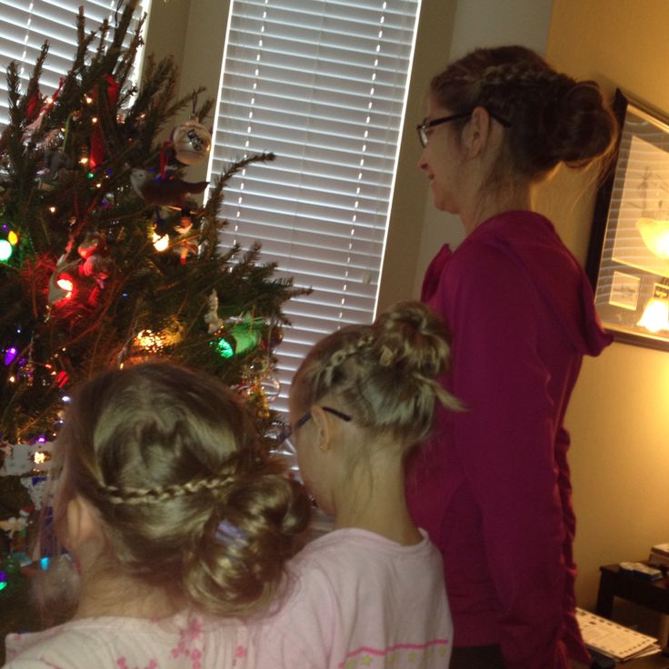 My talented daughter decided to do all of our hair alike! Here is the final product.