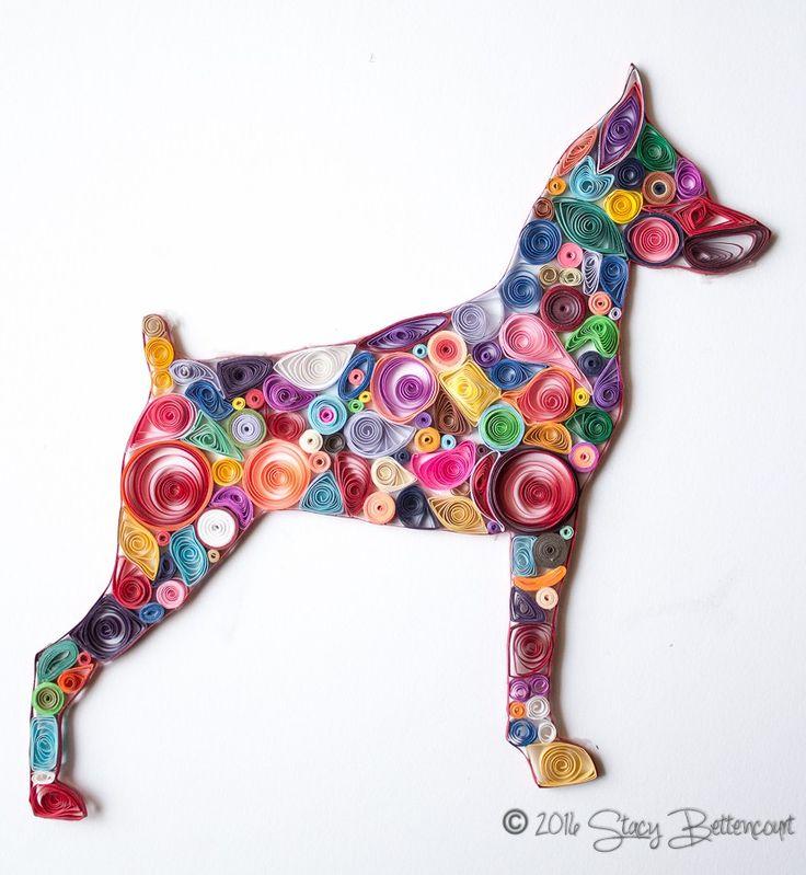 Quilled Miniature Pinscher #patchwork #quilling #minpin