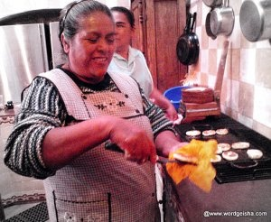 """Hacienda las Trancas, Mexico. Credit Melissa Adams. Think Mexican cuisine is all about tacos and enchiladas? At Hacienda las Trancas, a 450-year-old restored presidio in the country's colonial heart, I sampled Torta de Papa en Flor de Calabasa (potato pancakes cradled in squash blossoms), prepared by """"Mama Yolanda"""" for breakfast—delectable """"fuel"""" for another day of riding with Bike Beyond Boundaries Travel (http://bikebeyondboundaries.com/biking/mexico/colonialmexico/)."""
