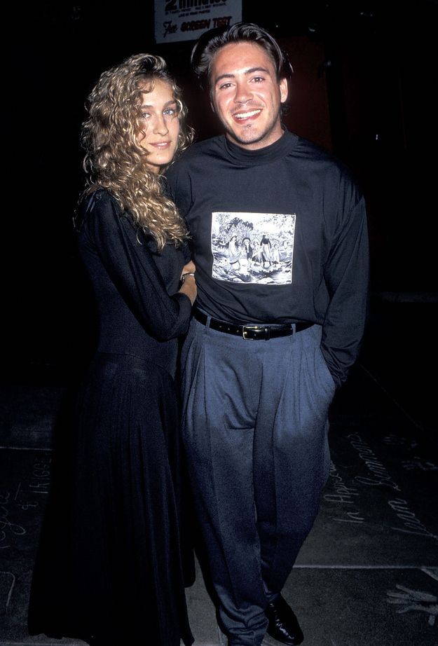 The time she channeled her inner Stevie Nicks, while her boyfriend, Robert Downey, Jr., by the look of his pants, channeled his inner Fred Mertz. | 17 Times Sarah Jessica Parker Wore Some Truly Epic '80s Fashion