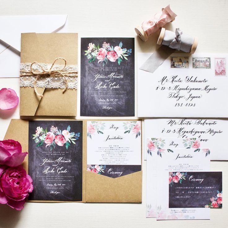 結婚式の招待状の準備ならEYMオリジナルの高品質でおしゃれな招待状を♡流行のブラックボードと水彩のお花を取り入れたデザインがおしゃれな招待状です!海外風ウェディンググッズ、ペーパーアイテム通販サイトEYMで販売中です。