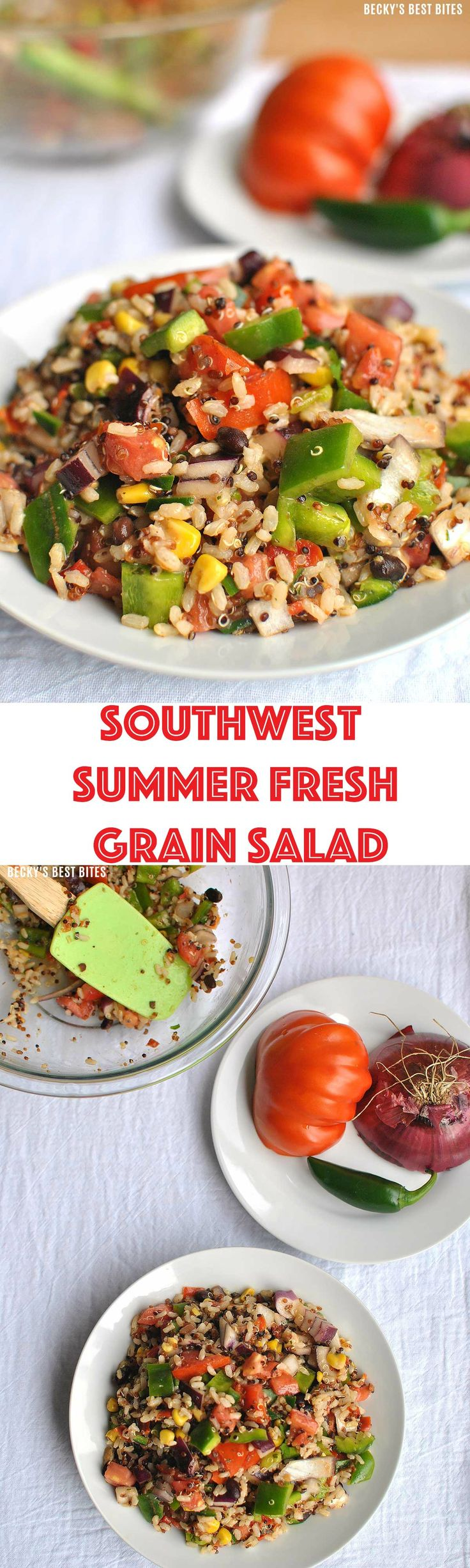 Southwest Summer Fresh Grain Salad is a a healthy recipe for any BBQ. Just a few fresh add-ins make this Suddenly Salad with quinoa and brown rice a smart idea for a family dinner.  Enter to win $15 PayPal cash too :) #Ad #suddenlysalad