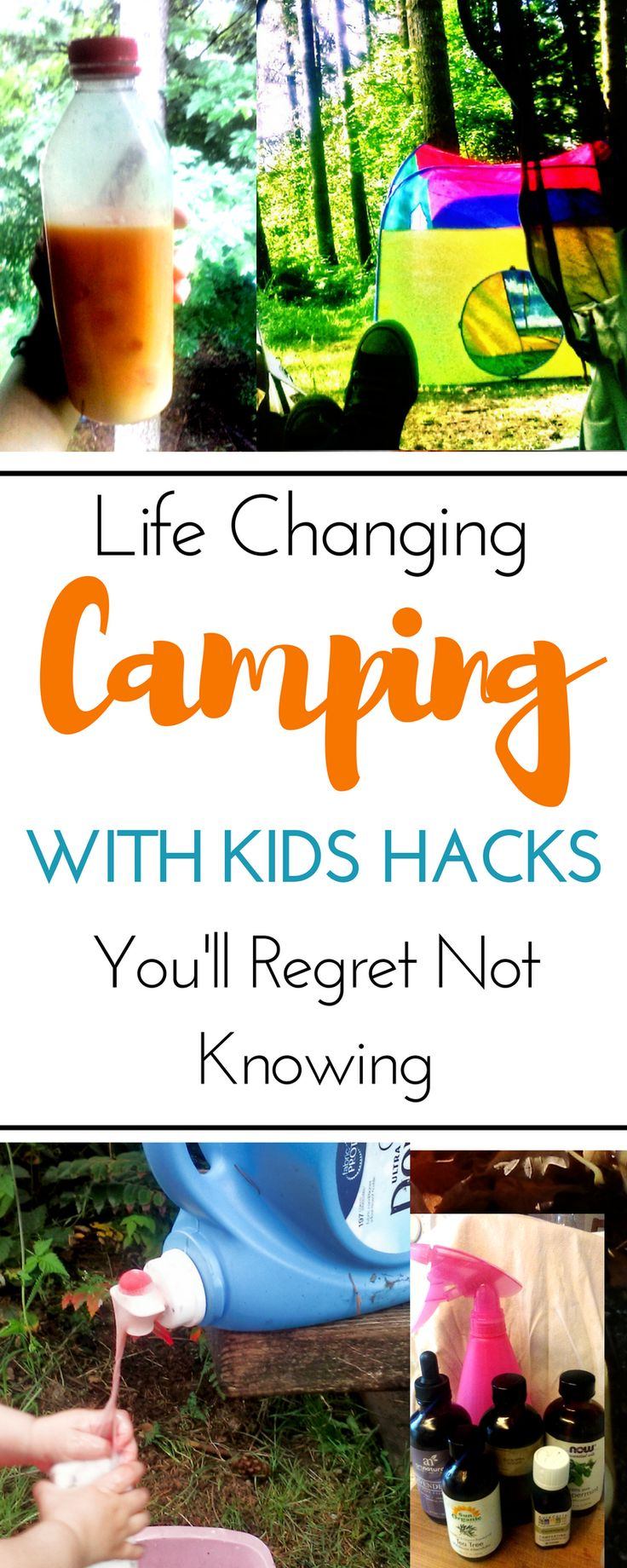 This roundup of great camping hacks will make camping with kids a breeze! 10 great camping tricks that are borderline genius. Awesome frugal tips using ingenious upcycling or items from the dollar tree to create food ideas, tent and sleeping hacks, fun ideas for toddlers, DIY bugs spray using essential oils, and more. These hacks are ingenious for families: for adults and for kids. #camping #campingwithkids #campinghacks