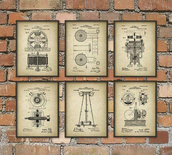Tesla Patent Prints Nikola Tesla Engineering by QuantumPrints