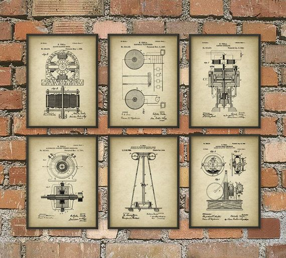 Tesla Patent Prints - Nikola Tesla Engineering Invention Patent - Tesla Motors - Tesla Coil Generator - Electric Circuit Poster Set Of 6