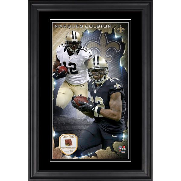 Marques Colston New Orleans Saints Fanatics Authentic Vertical Framed Photograph with Piece of Game-Used Football - Limited Edition of 250 - $99.99