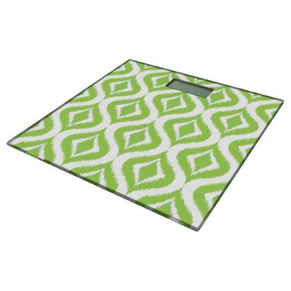 Soft Lime Green Retro Chic Ikat Drops Pattern Bathroom Scale - stylish gifts unique cool diy customize