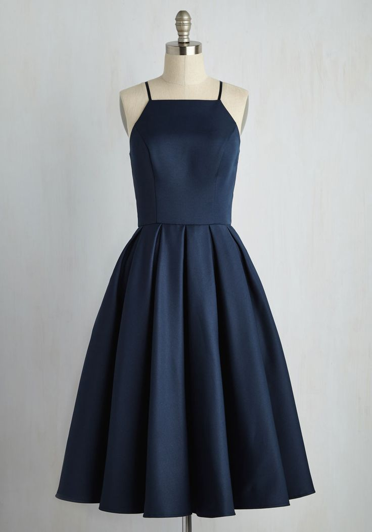 Beloved and Beyond Midi Dress in Navy - Blue, Wedding, Party, Daytime Party, Bridesmaid, Fit & Flare, Sleeveless, Spaghetti Straps, Spring, Woven, Best, Halter, Long, Variation, Wedding Guest, Prom, Graduation, Vintage Inspired, Cocktail, Top Rated, Homecoming