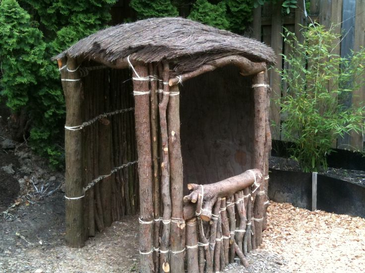 Jake made this hut  out of yard debris
