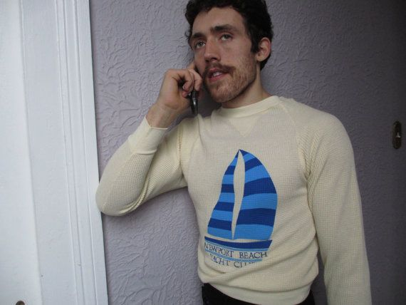 70s Vintage Yacht Club Thermal Shirt unworn small