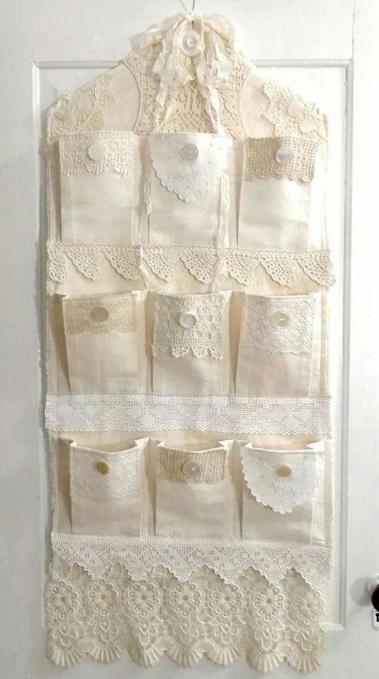 :-) Beautiful Over Door Organizer.  Perfect for Odds and Ends.  Shabby Chic, Farmhouse, French Country Decor
