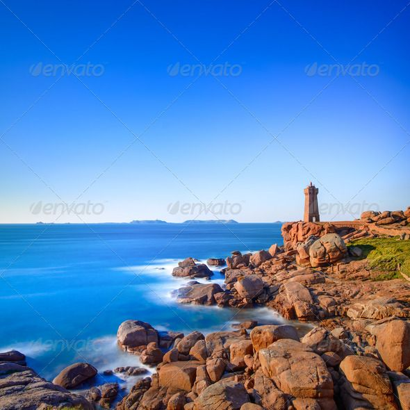 Ploumanach Lighthouse Sunset In Pink Granite Coast Brittany France By Stevanzz Ploumanach Mean Ruz Lighthouse Red Sunset In Pink Granite Coast Perros France