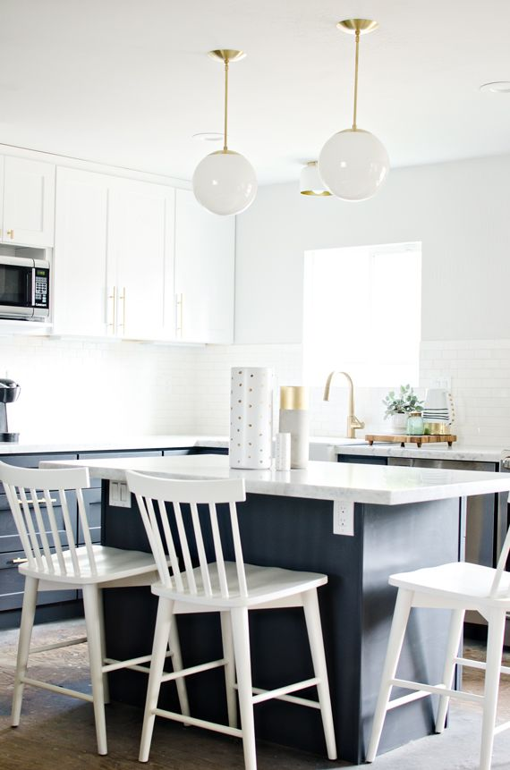 Paint colors for a navy and white kitchen