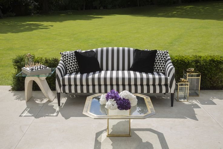 Coco Wolf outdoor Mamelle Sofa in  black and white stripped Perennials fabrics