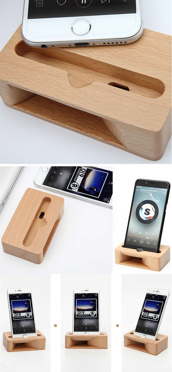 Wooden Iphone Speaker Sound Amplifier Cell Phone Station Stand Dock Mount Holder