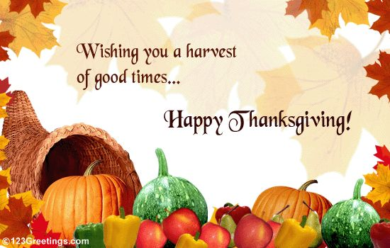 free happy thanksgiving greetings | Wish friends and colleagues on Thanksgiving with this ecard.
