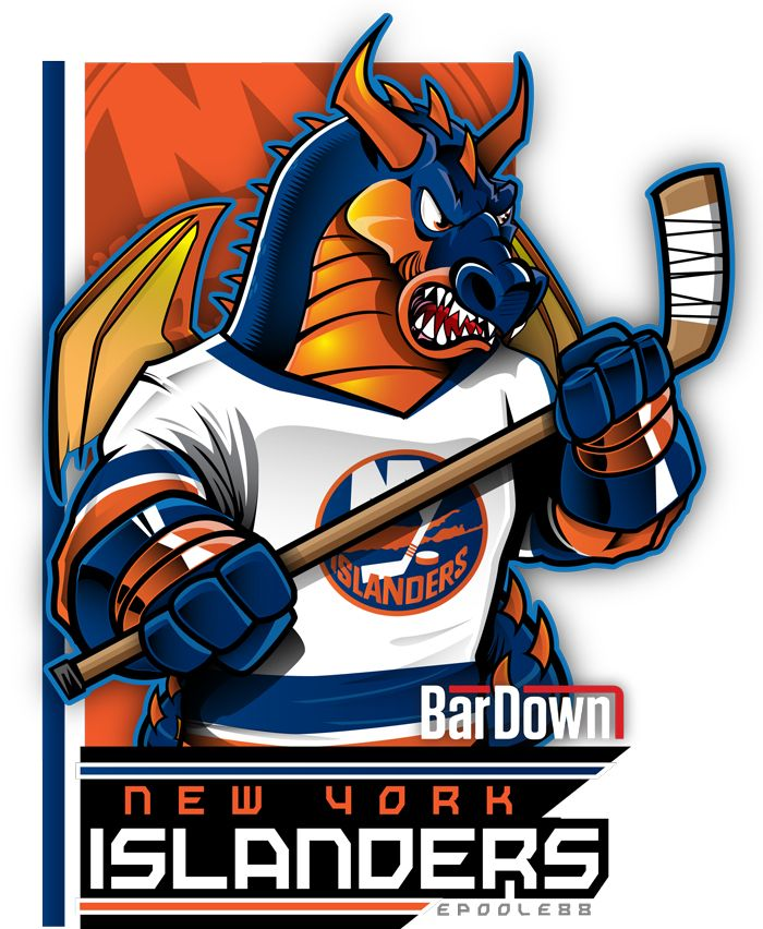 I've got to admit, I have no idea where this mascot comes from. New York Islanders = medieval dragon? Uhhh, okay...  Whatever. I blame Alexei Yashin.  More of Eric Poole's work at http://epoole88.tumblr.com