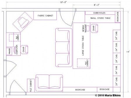 Craft room layout draw out your sewing room quilt for Sewing room floor plans