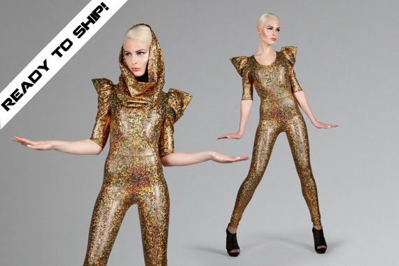 Signature Catsuit in Gold Hologram, Holographic Jumpsuit w. Hood, Burning Man Clothing, Sexy Dance Stage Wear, Music Video, by LENA QUIST