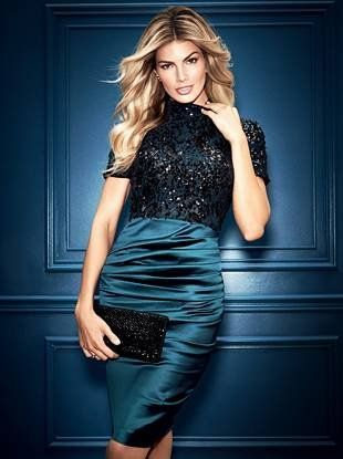 A timeless silhouette with modern details, this dress features a lace bodice with sequin embellishments and curve-skimming ruched skirt. Other details include a mock neckline, back center slit and short sleeves   MARCIANO.com