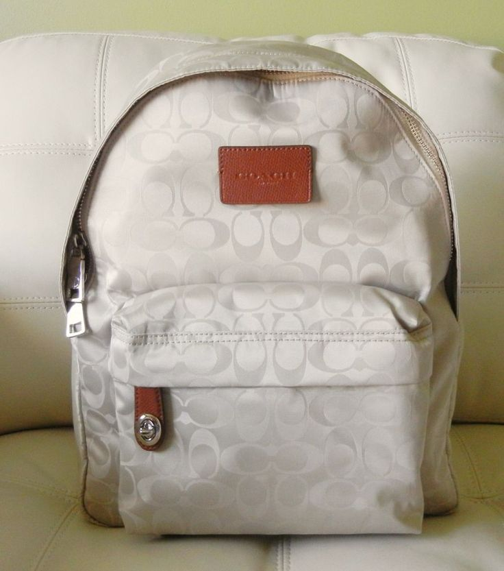 New Coach Nylon Small Backpack Silver/Biscuit Beige 35033  #Coach #Backpack
