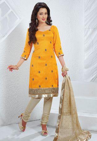 Mustard Art Silk Churidar Kameez