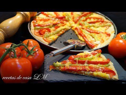 MASA DE PIZZA INTEGRAL + PIZZA VEGETARIANA O PIZZA BAJA EN CALORÍAS RECETA MUY FÁCIL - YouTube