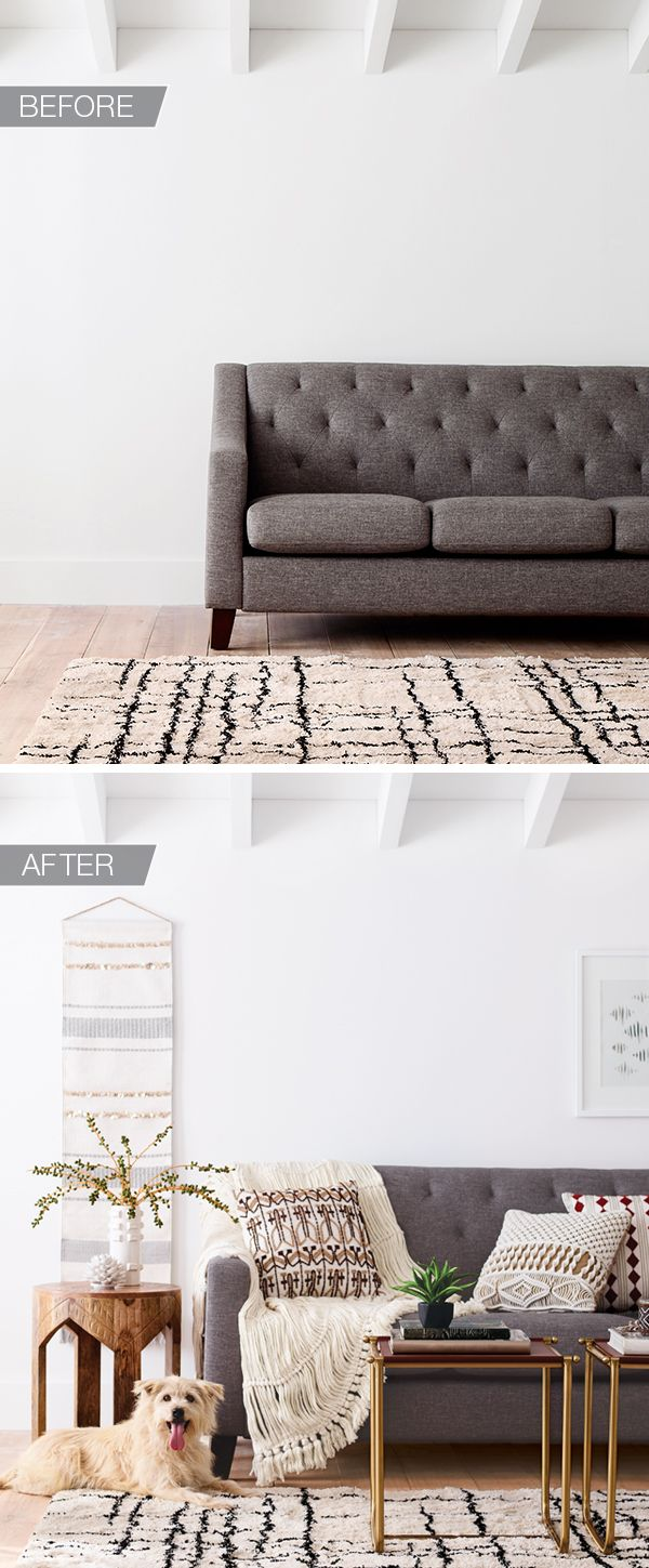 You've got a great rug and couch—now let Nate Berkus do the rest. He recommends keeping your palette neutral—you can mix in anything and it will look amazing. Woven wall art, pillows, this open-knit throw and leather or wood side tables all play on the neutral theme, but each has a bedecked or embellished detail that adds interest and brings the space to life.