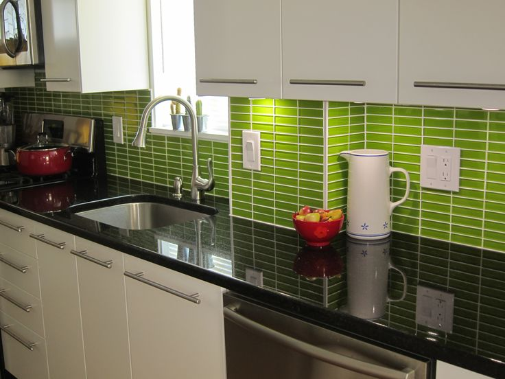 Green Color Backsplash With Black Granite Countertops Also Sinle Sink Wit Stainless Faucet White Floating Kitchen Cabinet At Modern Design